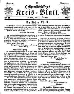 Osthavelländisches Kreisblatt vom 07.02.1855