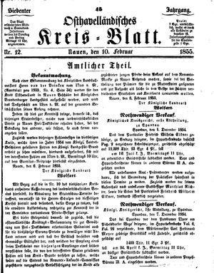 Osthavelländisches Kreisblatt vom 10.02.1855