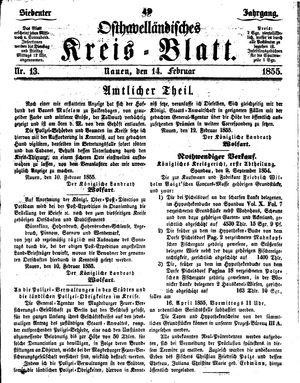 Osthavelländisches Kreisblatt vom 14.02.1855