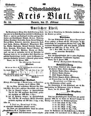 Osthavelländisches Kreisblatt vom 17.02.1855