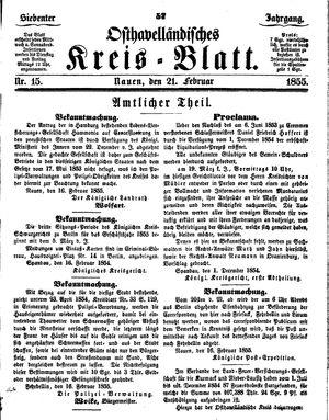 Osthavelländisches Kreisblatt vom 21.02.1855