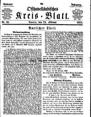 Osthavelländisches Kreisblatt vom 24.02.1855