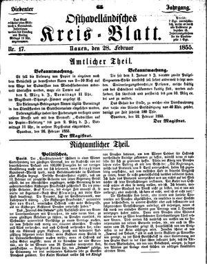 Osthavelländisches Kreisblatt vom 28.02.1855