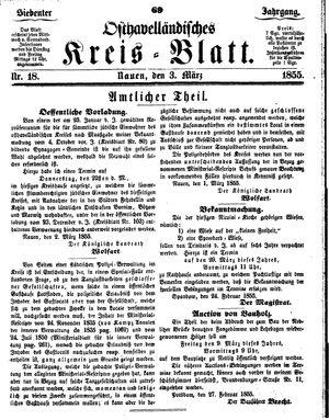 Osthavelländisches Kreisblatt vom 03.03.1855