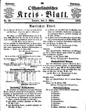 Osthavelländisches Kreisblatt vom 07.03.1855