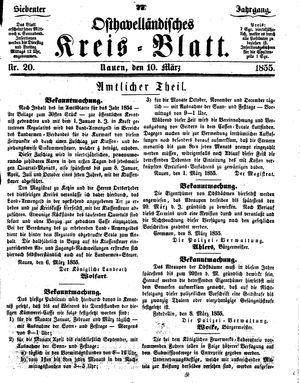 Osthavelländisches Kreisblatt on Mar 10, 1855