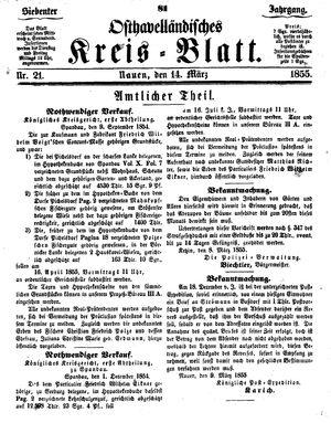 Osthavelländisches Kreisblatt vom 14.03.1855
