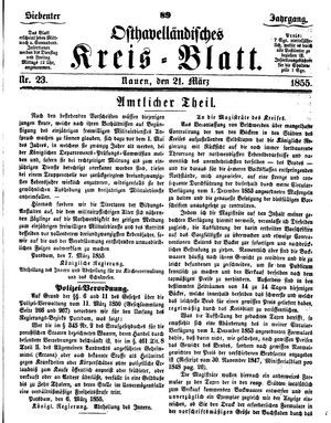 Osthavelländisches Kreisblatt vom 21.03.1855