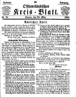 Osthavelländisches Kreisblatt vom 28.03.1855