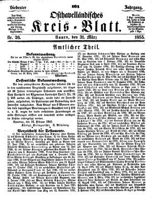 Osthavelländisches Kreisblatt vom 31.03.1855