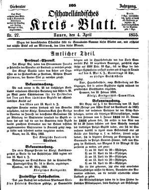 Osthavelländisches Kreisblatt vom 04.04.1855