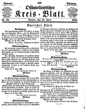 Osthavelländisches Kreisblatt vom 14.04.1855