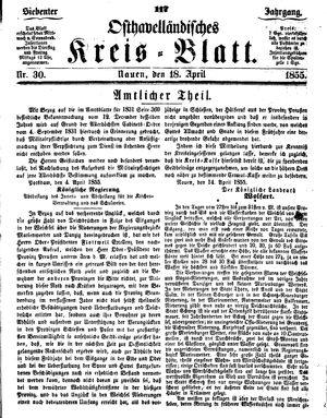 Osthavelländisches Kreisblatt vom 18.04.1855