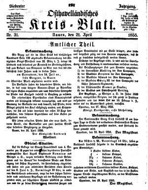 Osthavelländisches Kreisblatt vom 21.04.1855