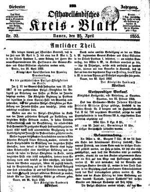 Osthavelländisches Kreisblatt on Apr 25, 1855