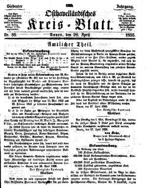 Osthavelländisches Kreisblatt vom 28.04.1855