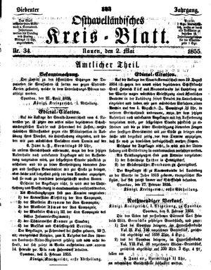 Osthavelländisches Kreisblatt vom 02.05.1855