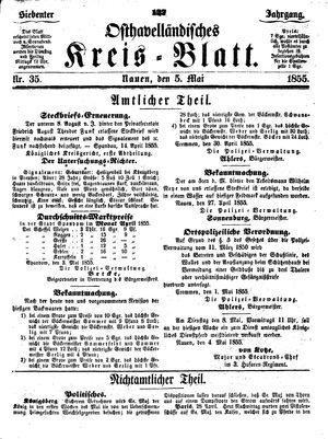 Osthavelländisches Kreisblatt vom 05.05.1855