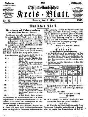 Osthavelländisches Kreisblatt on May 9, 1855