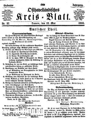 Osthavelländisches Kreisblatt vom 12.05.1855
