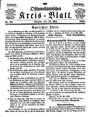 Osthavelländisches Kreisblatt on May 16, 1855