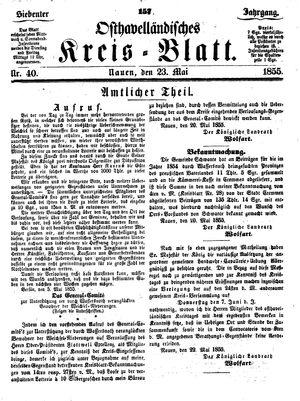 Osthavelländisches Kreisblatt vom 23.05.1855