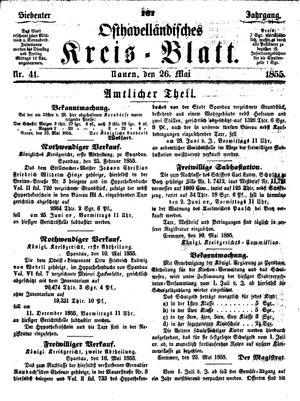Osthavelländisches Kreisblatt vom 26.05.1855