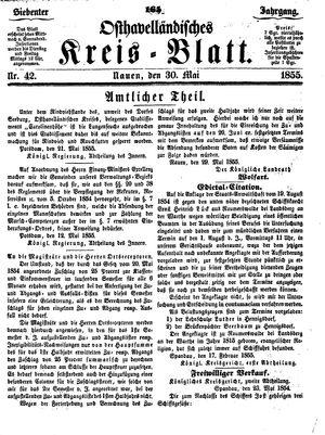 Osthavelländisches Kreisblatt vom 30.05.1855