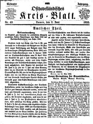 Osthavelländisches Kreisblatt vom 02.06.1855