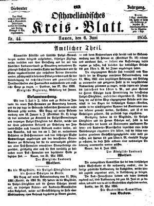 Osthavelländisches Kreisblatt vom 06.06.1855