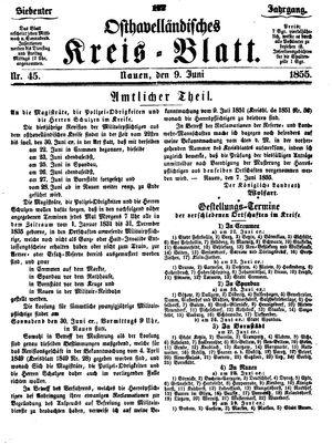 Osthavelländisches Kreisblatt vom 09.06.1855
