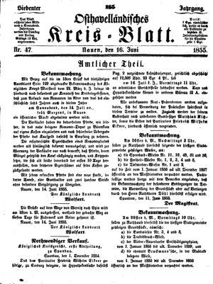 Osthavelländisches Kreisblatt vom 16.06.1855