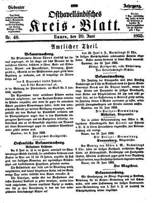 Osthavelländisches Kreisblatt vom 20.06.1855