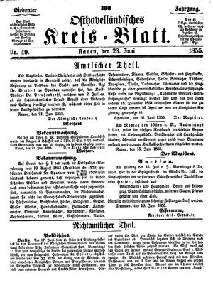 Osthavelländisches Kreisblatt vom 23.06.1855