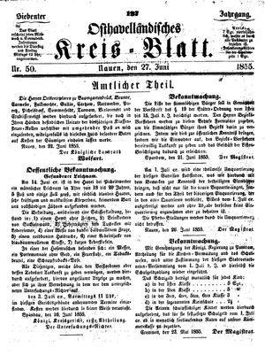 Osthavelländisches Kreisblatt vom 27.06.1855