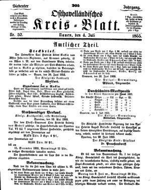 Osthavelländisches Kreisblatt vom 04.07.1855