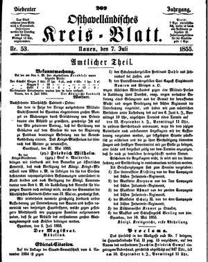 Osthavelländisches Kreisblatt on Jul 7, 1855