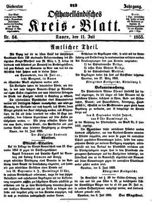 Osthavelländisches Kreisblatt vom 11.07.1855
