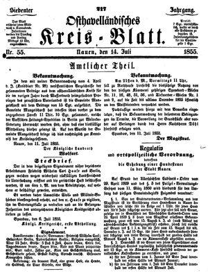 Osthavelländisches Kreisblatt on Jul 14, 1855