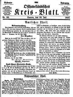 Osthavelländisches Kreisblatt vom 18.07.1855