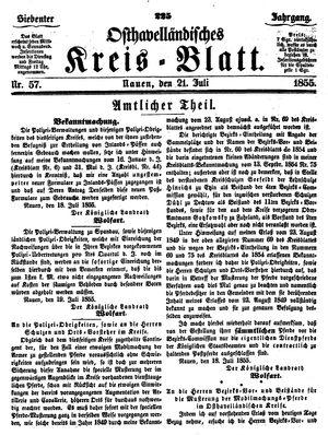 Osthavelländisches Kreisblatt vom 21.07.1855