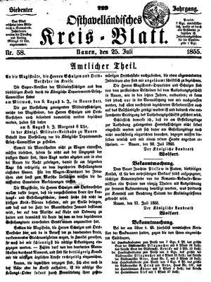 Osthavelländisches Kreisblatt vom 25.07.1855
