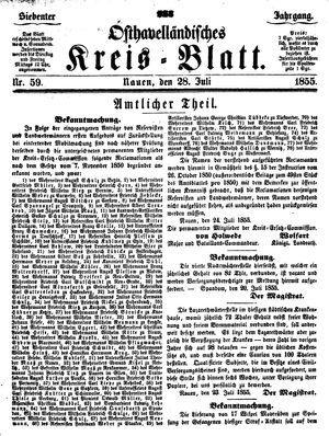 Osthavelländisches Kreisblatt vom 28.07.1855