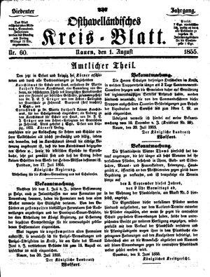 Osthavelländisches Kreisblatt vom 01.08.1855