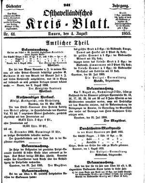 Osthavelländisches Kreisblatt vom 04.08.1855