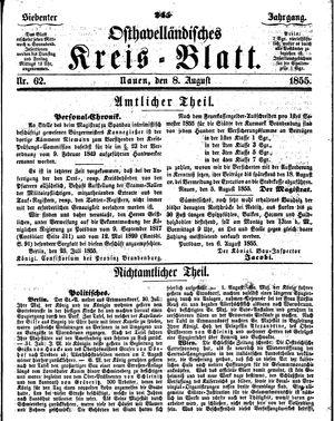 Osthavelländisches Kreisblatt vom 08.08.1855