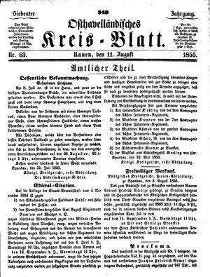 Osthavelländisches Kreisblatt vom 11.08.1855
