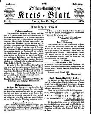 Osthavelländisches Kreisblatt vom 15.08.1855