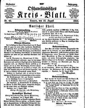 Osthavelländisches Kreisblatt on Aug 18, 1855