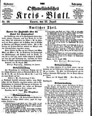 Osthavelländisches Kreisblatt vom 22.08.1855